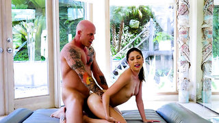 Sandy trapped, tickled and laughing in the stocks!