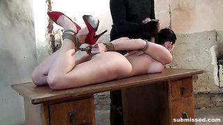 Cindy on display hard hogtied ballgagged