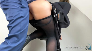 boss employee short briefing ends with cum into her pantyhose - RealMilfDa