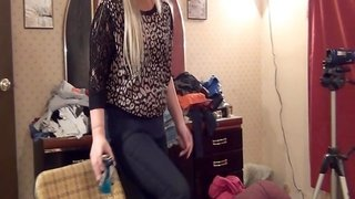 girl watches guy wanking