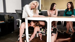 Cute models Kenzie Taylor and Kristen Scott fuck on the table