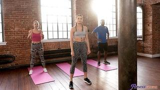 Hot FFM threesome in aerobics class
