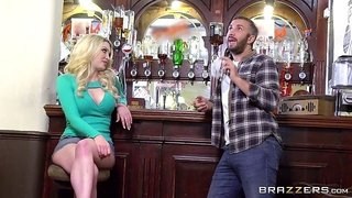 Cock sucking blonde bitch gets fucked by a horny bartender