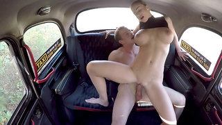 Gorgeous taxi driver Nathaly Cherie rides client's cock