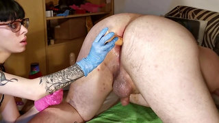 Enema & anal stretching for slave by goth domina pt2 HD