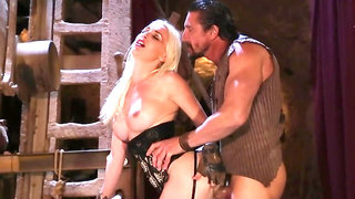 Medieval fucking session with blond slut in a black corset