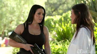 Kendra Spade and Angela White are fucking in the garden