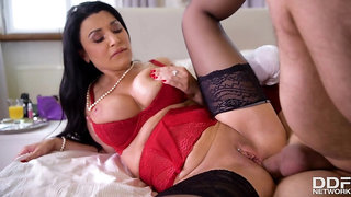 Hot brunette in sexy lingerie gets three holes fucked