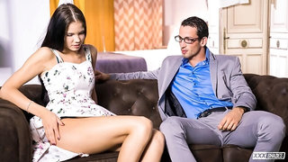 Cum in mouth for brunette Russian Lovenia Lux fucking her Spanish teacher