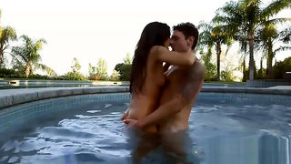 Pretty brunette pussy fondled and pounded by the pool