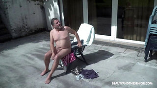 Senior Citizen Enjoys Fresh Pussy in the Backyard